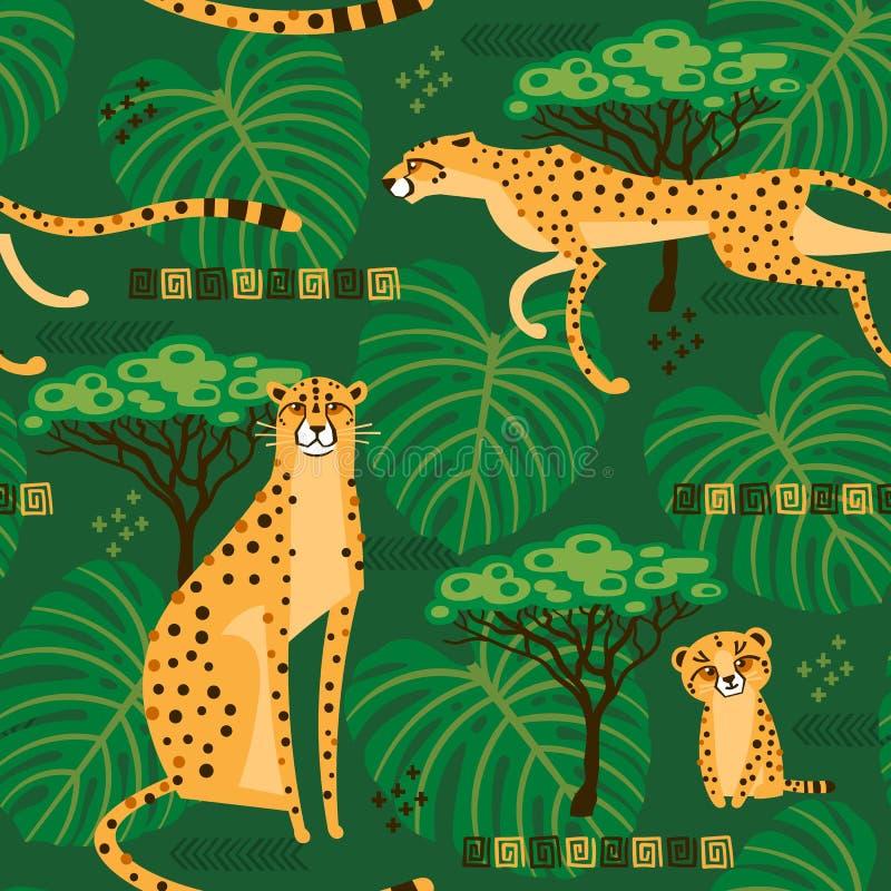 Modelo inconsútil con los guepardos, leopardos en la selva Gatos salvajes exóticos repetidos en el fondo de la sabana stock de ilustración
