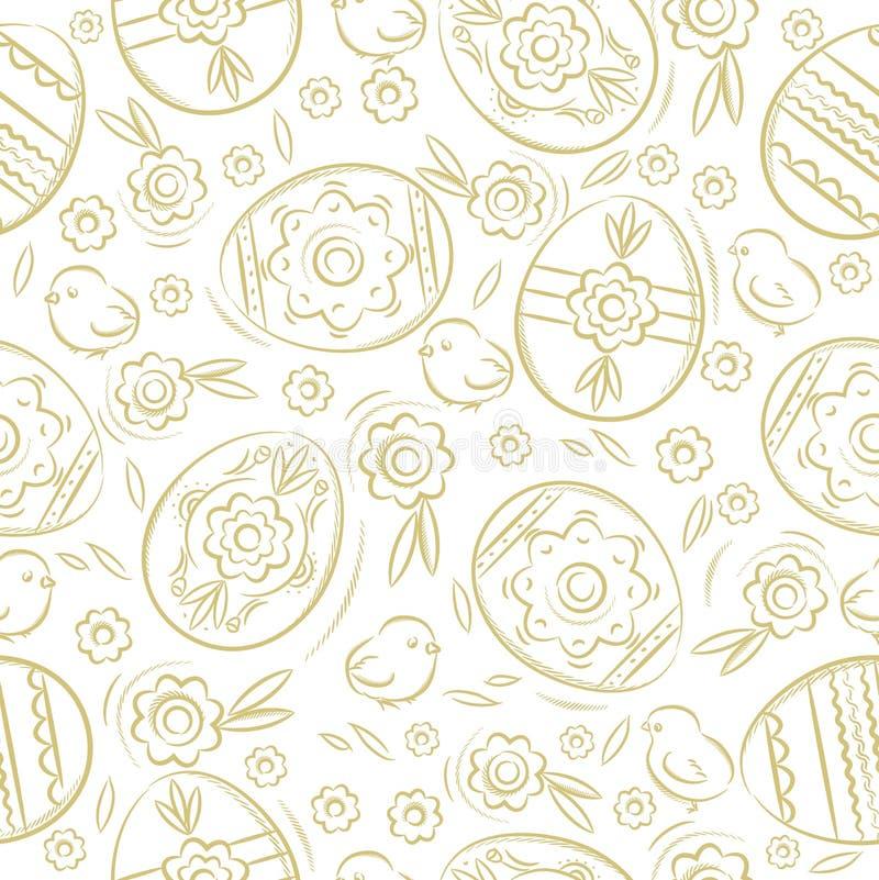 Modelo inconsútil con los HUEVOS de PASCUA, flores, hojas, polluelo Elementos a mano Diseño de los días de fiesta de Pascua Puede ilustración del vector