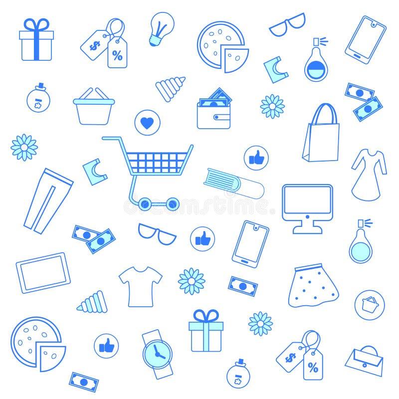 Modelo inconsútil con los iconos azules de las compras del esquema ilustración del vector