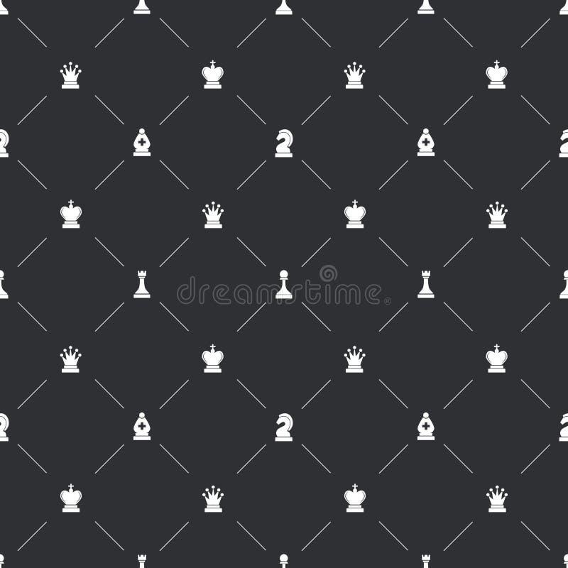 Modelo inconsútil con los iconos blancos del ajedrez para el endpaper del libro ilustración del vector