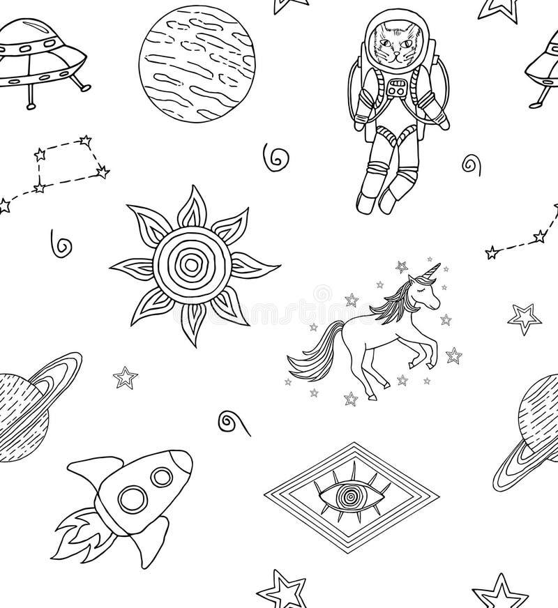 Modelo inconsútil con los iconos cósmicos dibujados mano stock de ilustración