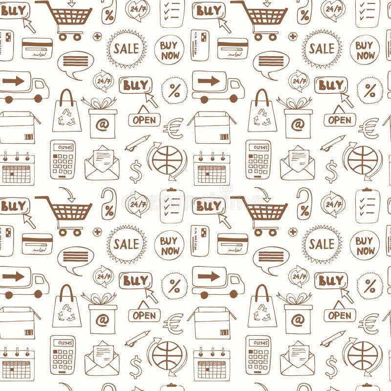 Modelo inconsútil con los iconos de las compras del bosquejo del garabato libre illustration