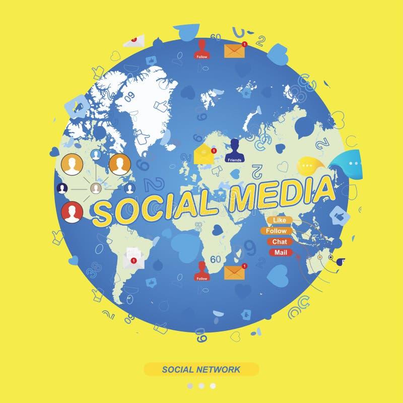 Modelo inconsútil con los iconos de redes sociales y los símbolos de notificaciones en el fondo del mapa del mundo global plano libre illustration