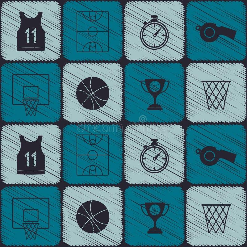 Modelo inconsútil con los iconos del baloncesto stock de ilustración