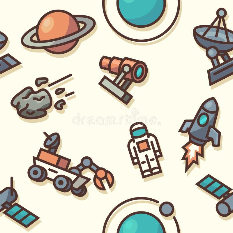 Modelo inconsútil con los iconos del espacio ilustración del vector
