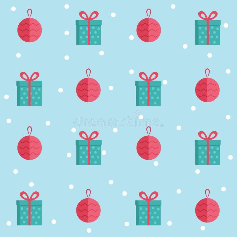 Modelo inconsútil con los iconos planos de la Navidad Ejemplo lindo de la historieta del vector Regalo y bola de la Navidad ilustración del vector