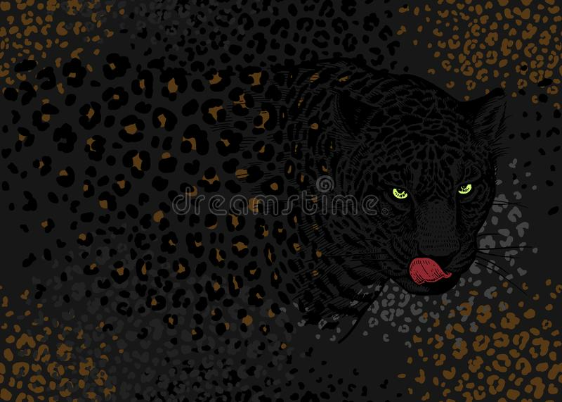 Modelo inconsútil con los leopardos ilustración del vector
