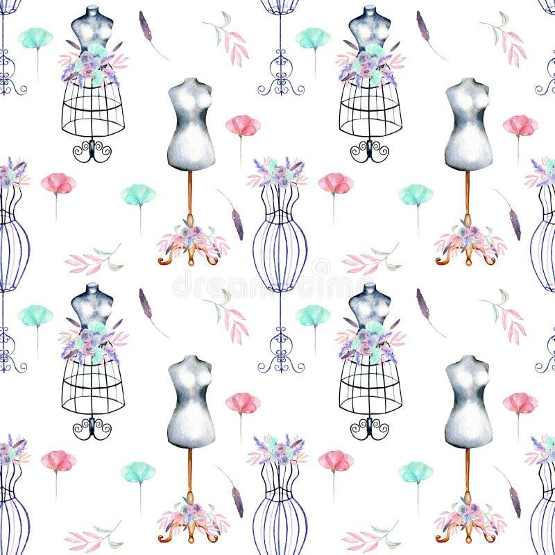 Modelo inconsútil con los maniquíes de la acuarela y las flores retros del rosa y de la menta ilustración del vector