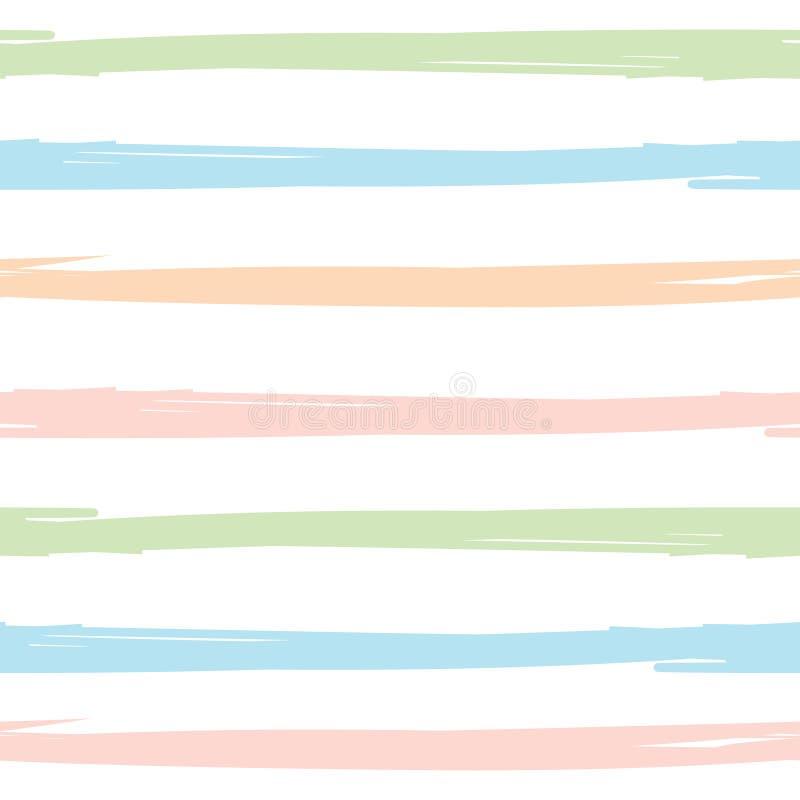 Modelo inconsútil con los movimientos pintados a mano del cepillo, fondo rayado Ilustración del vector ilustración del vector