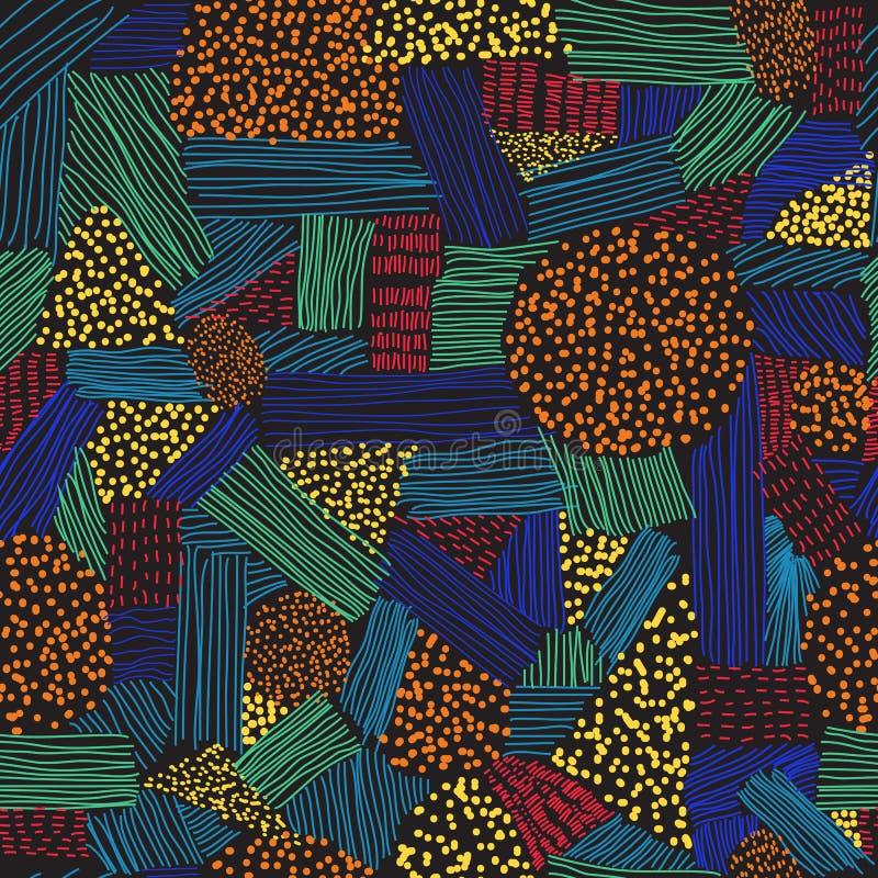 Modelo inconsútil con los movimientos y los puntos coloridos en el fondo negro libre illustration