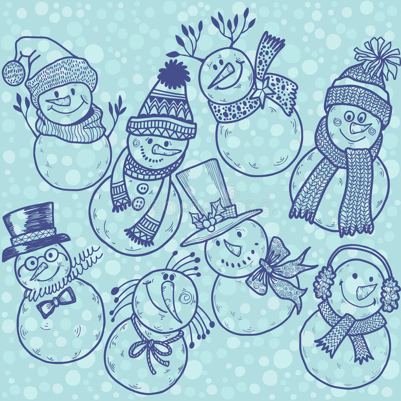 Modelo inconsútil con los muñecos de nieve lindos de la historieta Ilustración del vector ilustración del vector