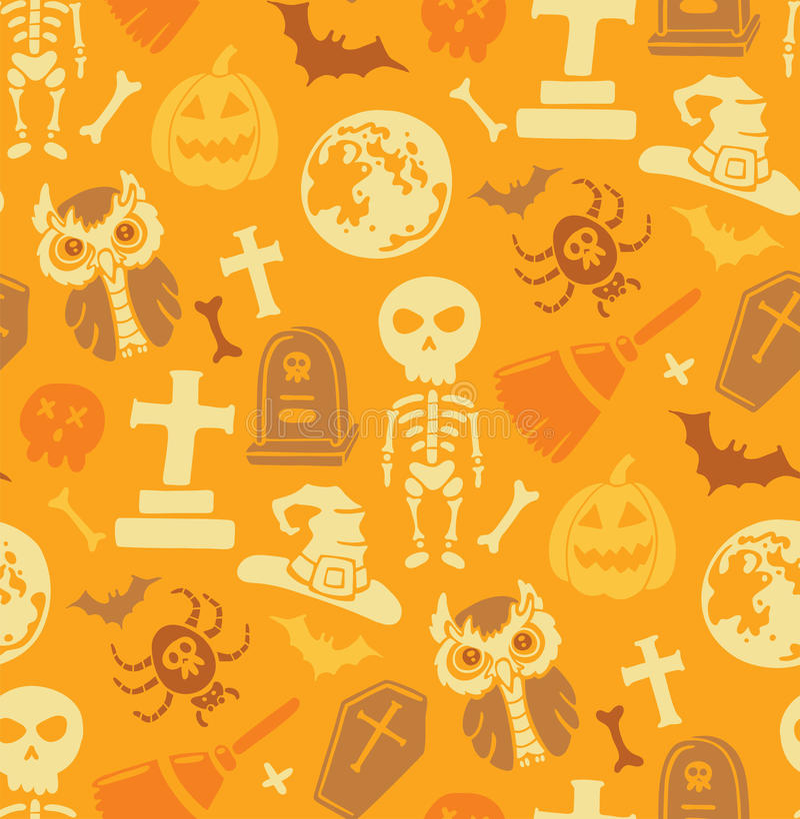 Modelo inconsútil con los objetos de Halloween. ilustración del vector