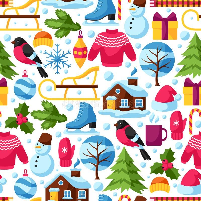 Modelo inconsútil con los objetos del invierno Artículos y símbolos del día de fiesta de la Feliz Navidad, de la Feliz Año Nuevo ilustración del vector