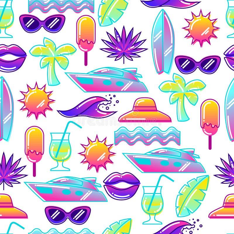 Modelo inconsútil con los objetos estilizados del verano Ejemplo abstracto en color vibrante libre illustration