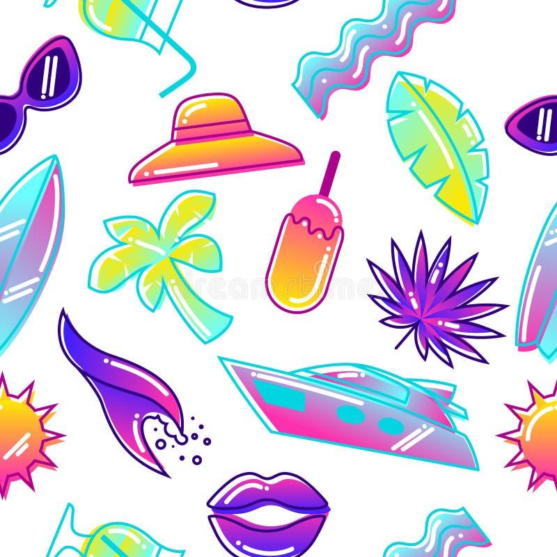 Modelo inconsútil con los objetos estilizados del verano Ejemplo abstracto en color vibrante ilustración del vector