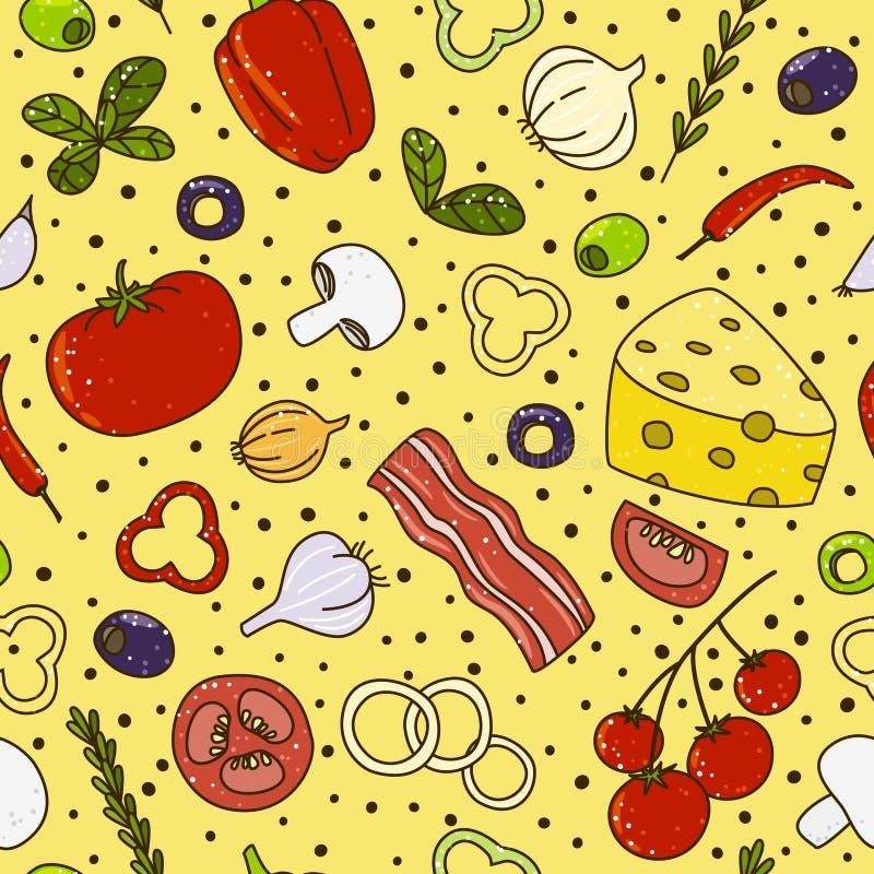 Modelo inconsútil con los objetos mediterráneos de la cocina ilustración del vector