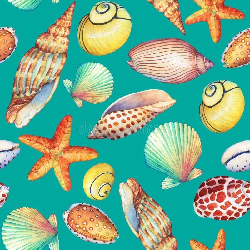 Modelo inconsútil con los objetos subacuáticos de la vida, aislados en fondo de la turquesa Diseño-SHELL marino, estrella de mar  ilustración del vector