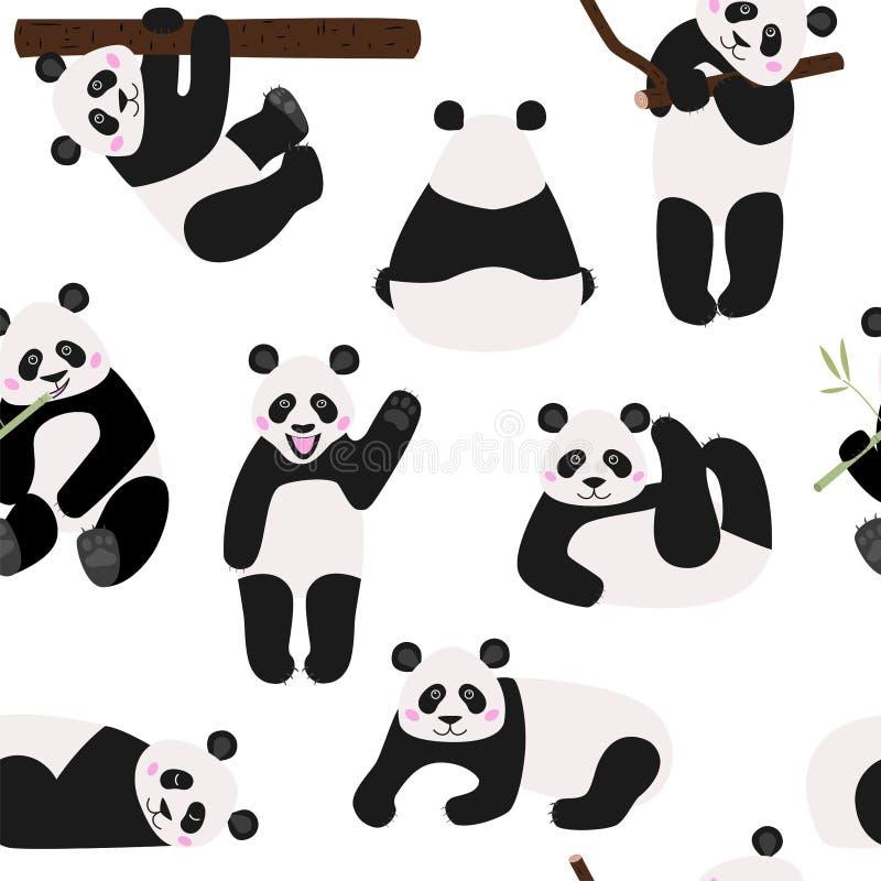 Modelo inconsútil con los osos de panda divertidos, ejemplo del vector stock de ilustración