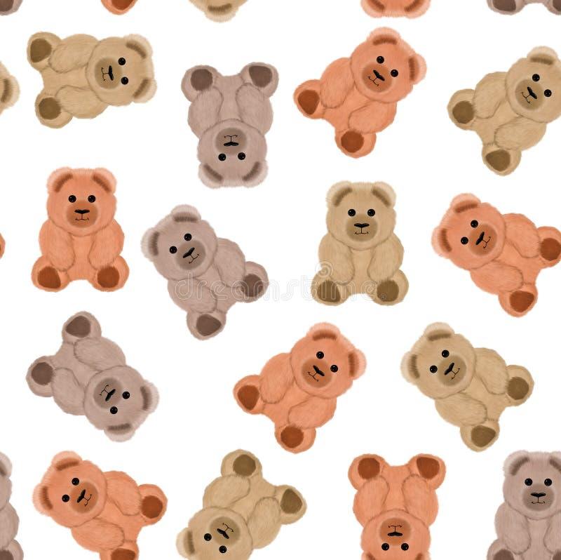 Modelo inconsútil con los osos de peluche libre illustration