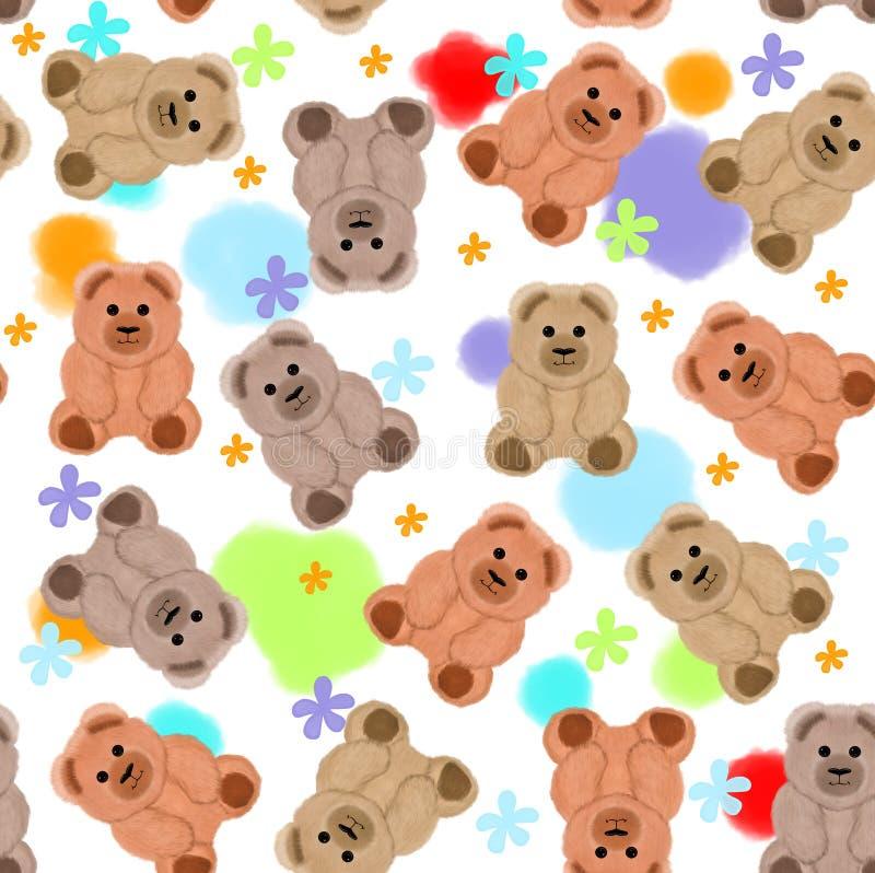 Modelo inconsútil con los osos y las flores de peluche ilustración del vector