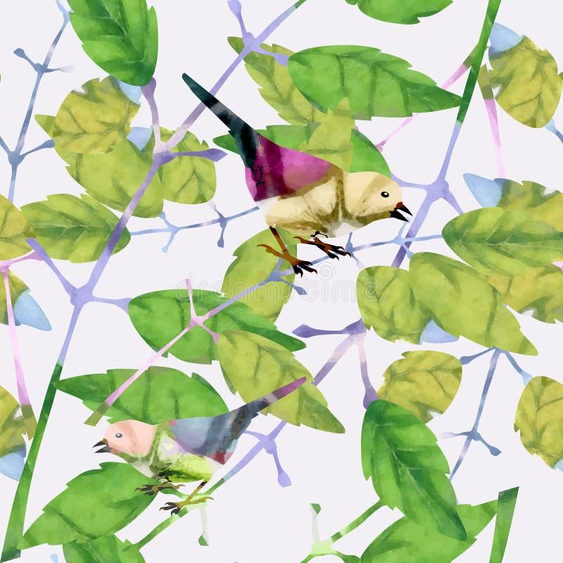 Modelo inconsútil con los pájaros stock de ilustración