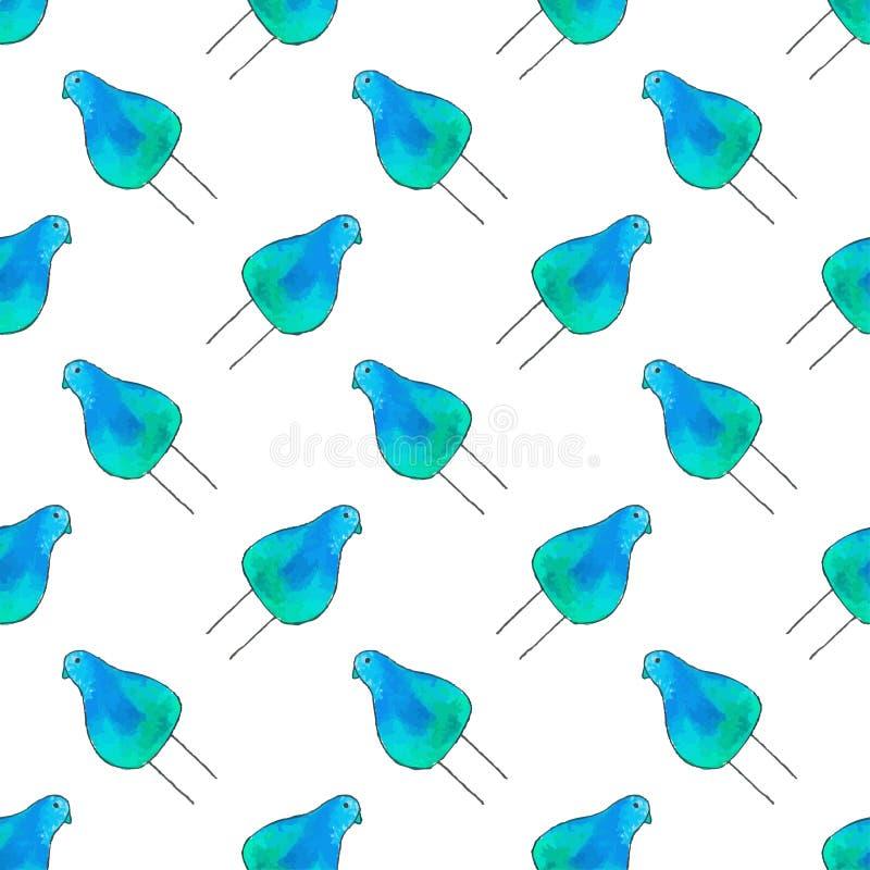 Modelo inconsútil con los pájaros de la historieta Fondo a mano Ilustración del vector stock de ilustración