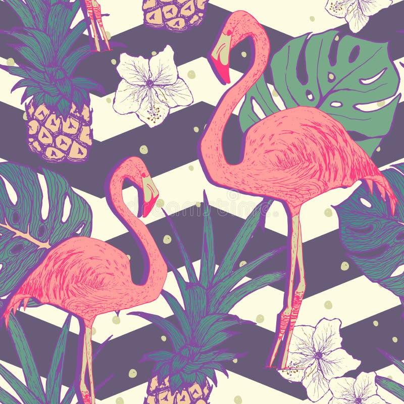 Modelo inconsútil con los pájaros del flamenco libre illustration