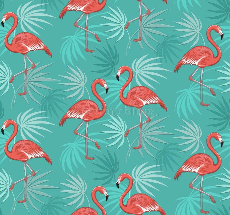 Modelo inconsútil con los pájaros del flamenco y las hojas tropicales stock de ilustración