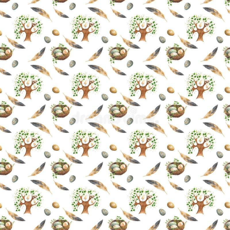 Modelo inconsútil con los pájaros en el árbol, jerarquía con los huevos y plumas stock de ilustración