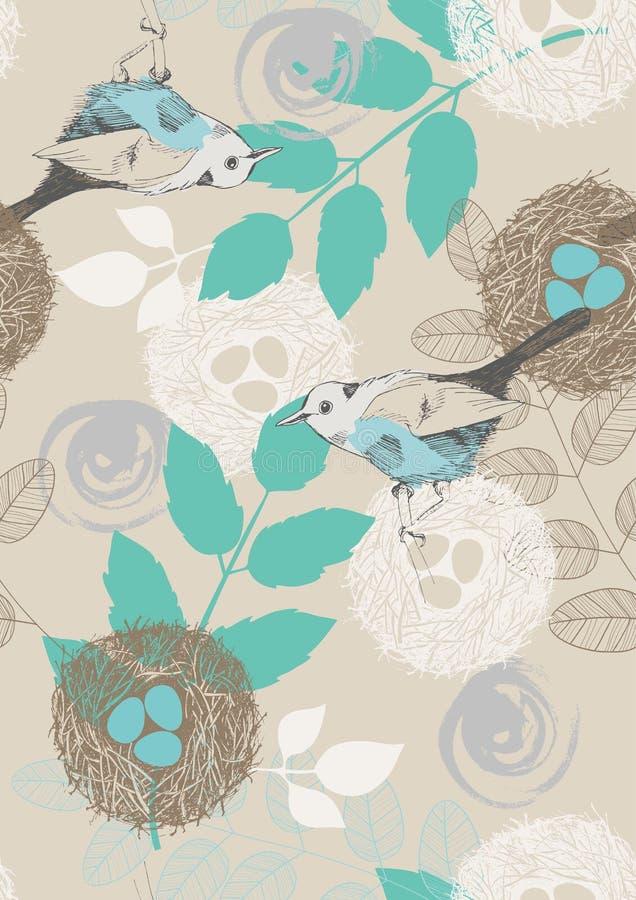 Modelo inconsútil con los pájaros y las hojas libre illustration