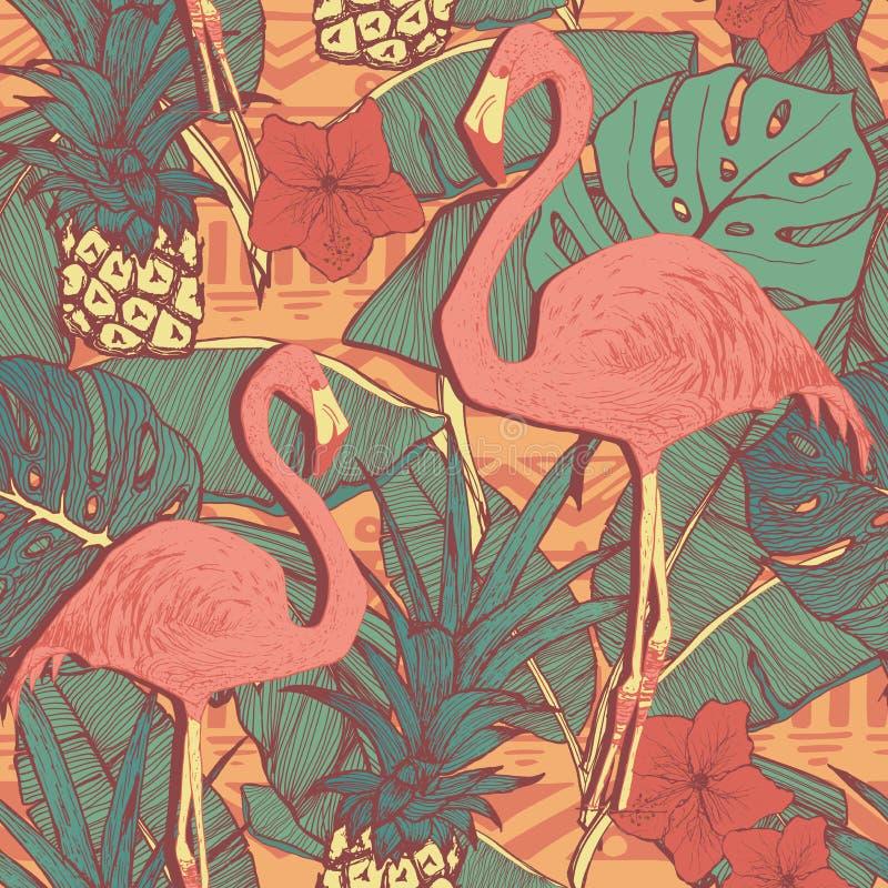 Modelo inconsútil con los pájaros y las piñas del flamenco stock de ilustración