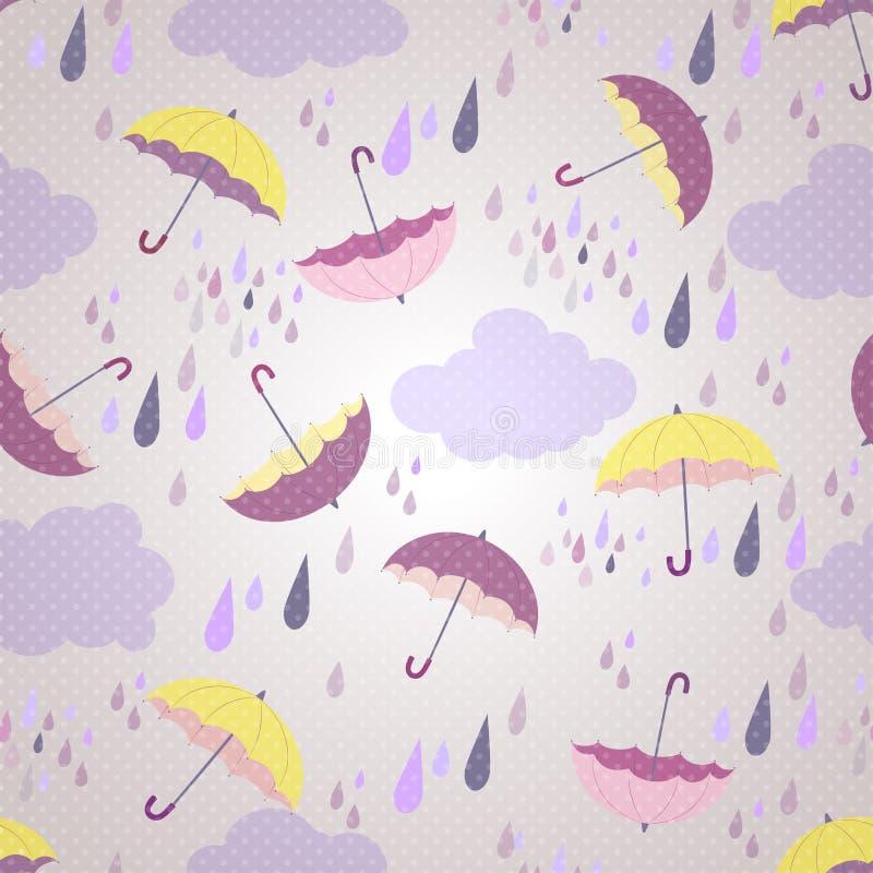 Modelo inconsútil con los paraguas libre illustration