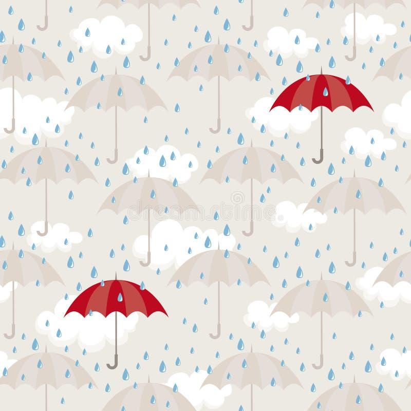 Modelo inconsútil con los paraguas ilustración del vector