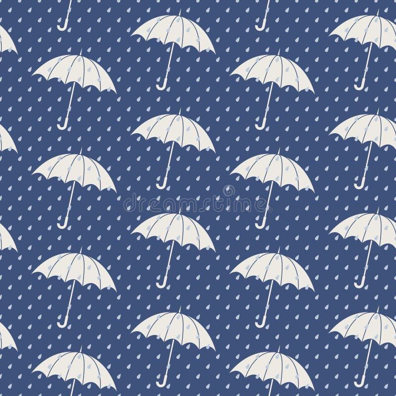Modelo inconsútil con los paraguas stock de ilustración
