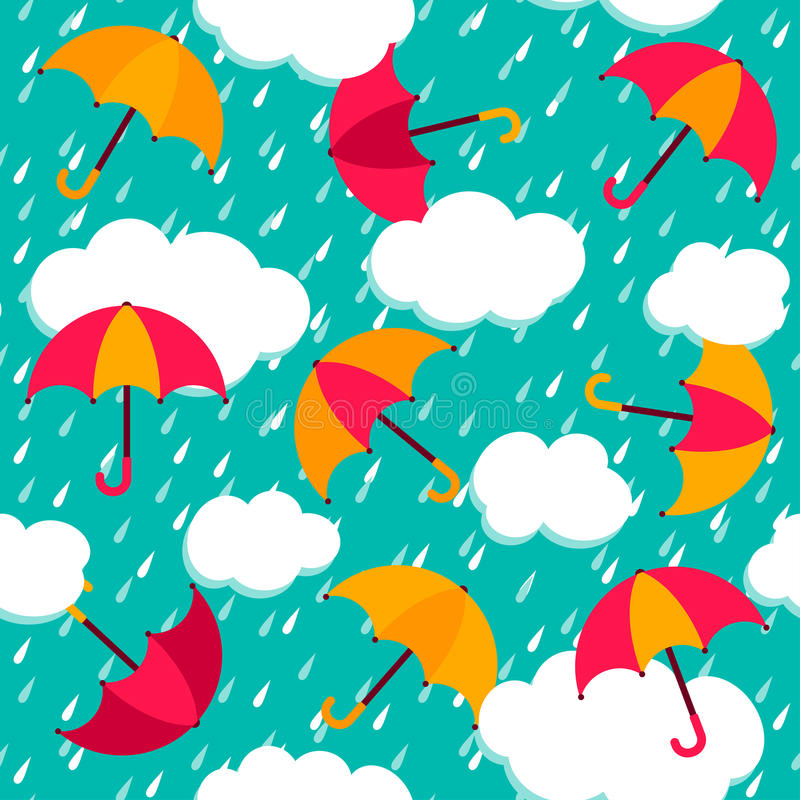 Modelo inconsútil con los paraguas coloridos stock de ilustración