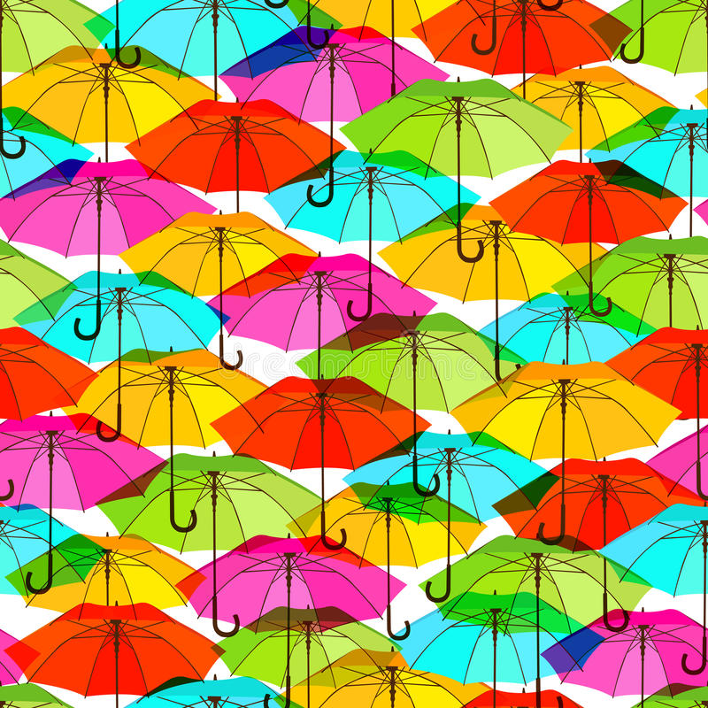 Modelo inconsútil con los paraguas coloridos brillantes ilustración del vector