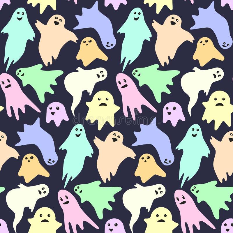 Modelo inconsútil con los pequeños fantasmas coloridos asustadizos lindos en fondo oscuro ilustración del vector