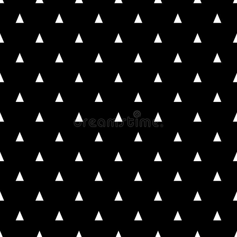 Modelo inconsútil con los pequeños triángulos blancos en un fondo negro Fondo geométrico básico stock de ilustración