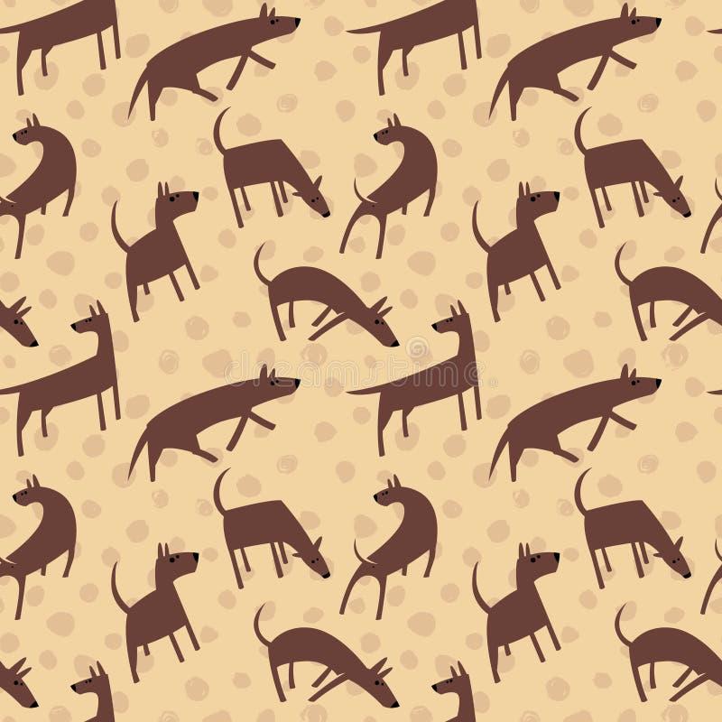 Modelo inconsútil con los perros Animales simples del estilo del vector Backgro libre illustration