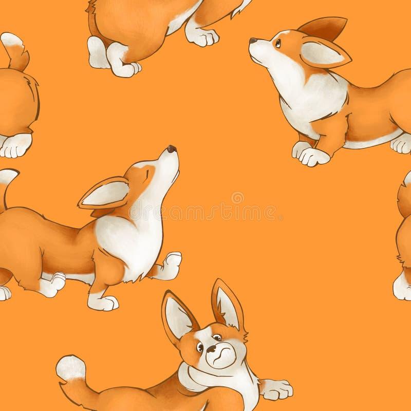Modelo inconsútil con los perros lindos rojos Perritos del Corgi en un fondo amarillo fotografía de archivo libre de regalías