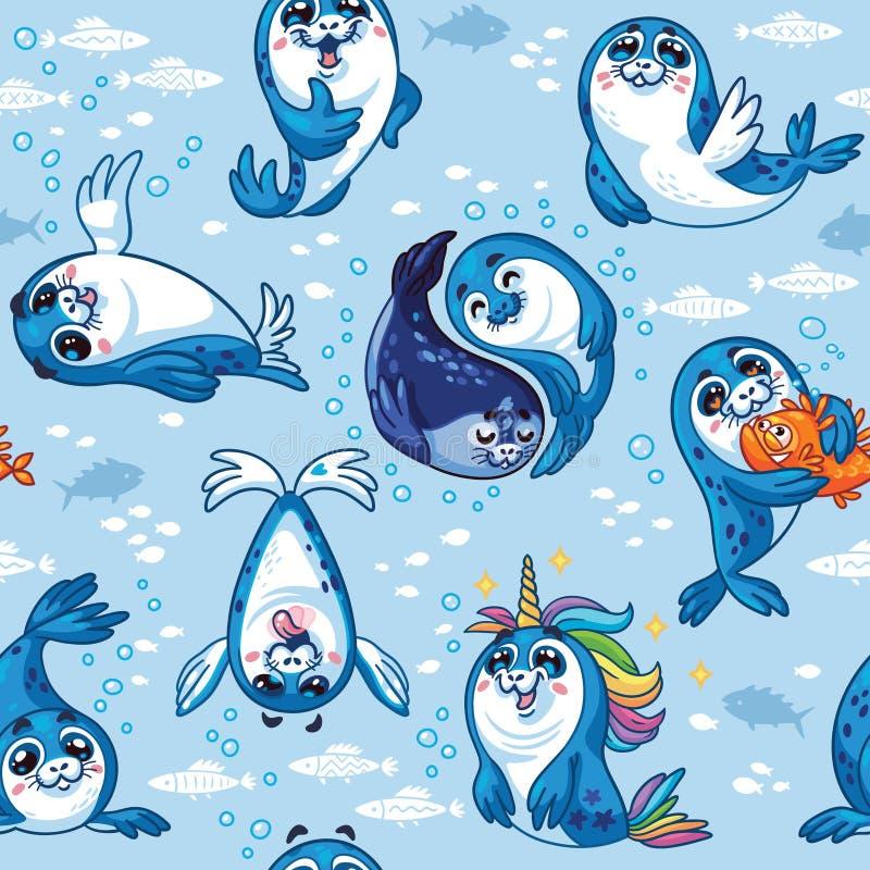 Modelo inconsútil con los personajes de dibujos animados lindos de la cría de foca libre illustration