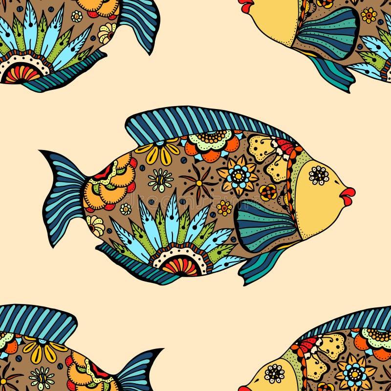 Modelo inconsútil con los pescados ilustración del vector