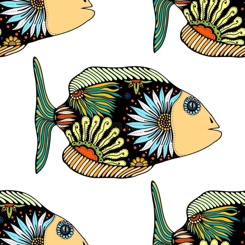 Modelo inconsútil con los pescados libre illustration