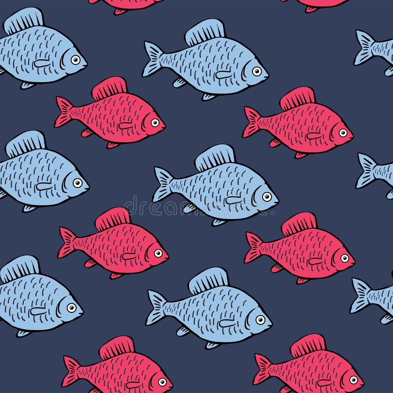 Modelo inconsútil con los pescados azules y rosados en fondo azul Fondo de la historieta con los pescados stock de ilustración