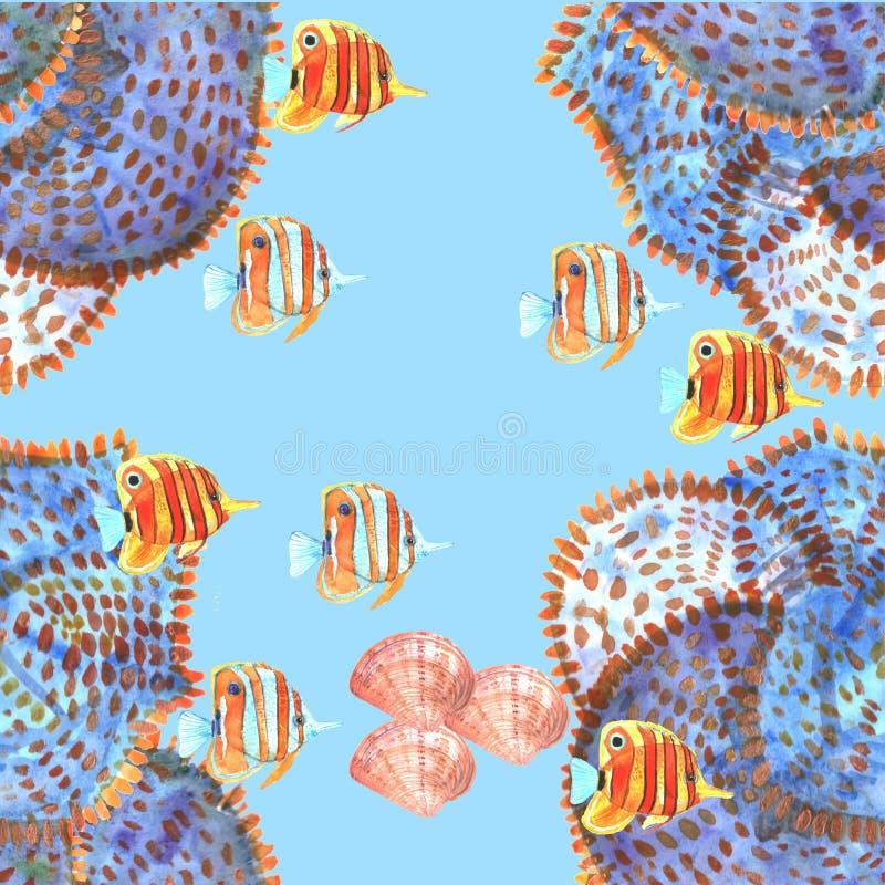Modelo inconsútil con los pescados, butterflyfishes, cáscaras watercolor stock de ilustración