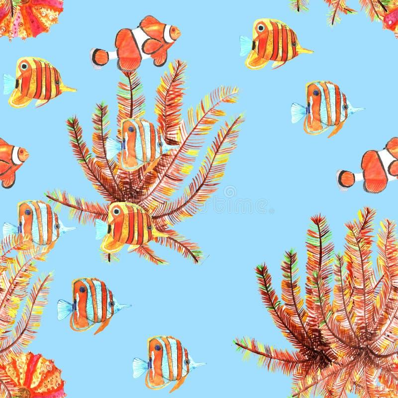 Modelo inconsútil con los pescados Clownfish, butterflyfish watercolor ilustración del vector