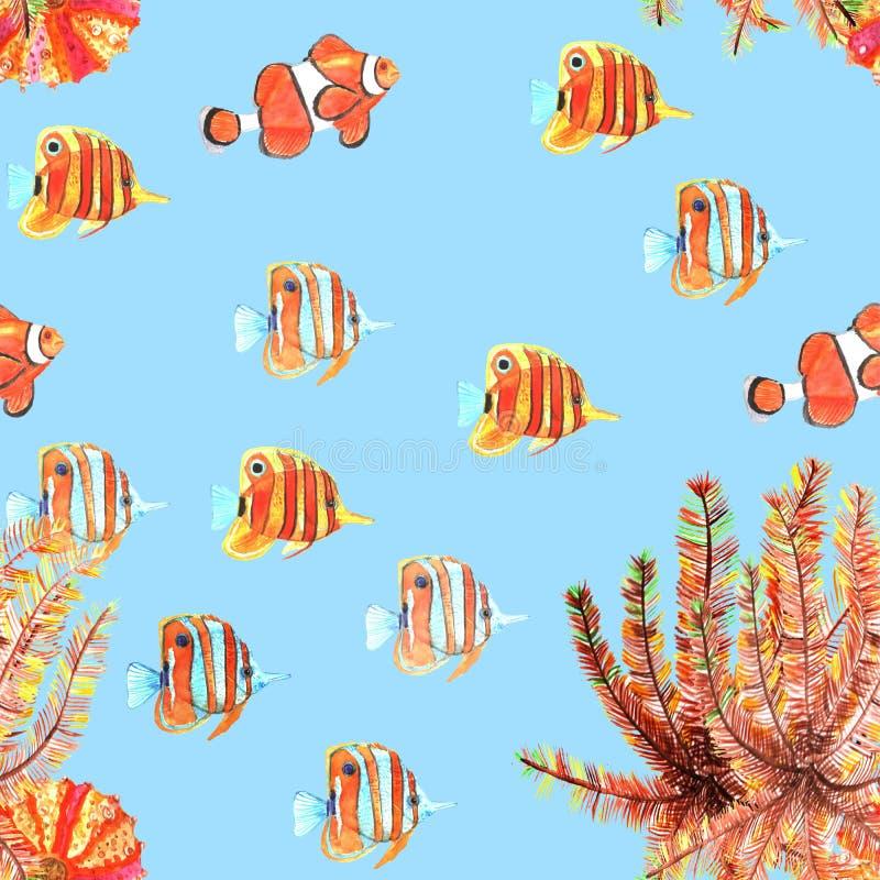 Modelo inconsútil con los pescados, clownfish, butterflyfishes watercolor ilustración del vector