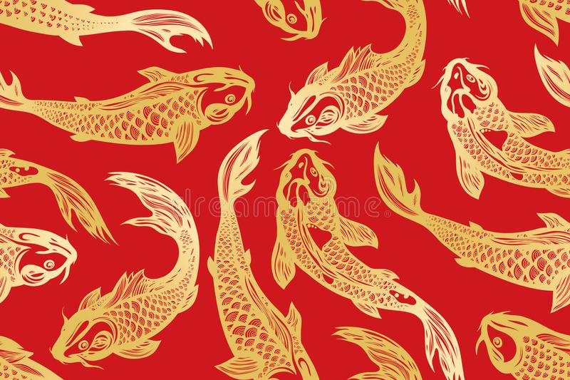 Modelo inconsútil con los pescados de la carpa del koi charca Fondo en el estilo chino Mano drenada stock de ilustración
