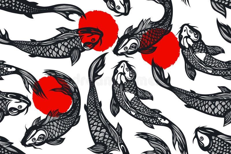 Modelo inconsútil con los pescados de la carpa del koi, puntos charca Fondo en el estilo chino Mano drenada stock de ilustración