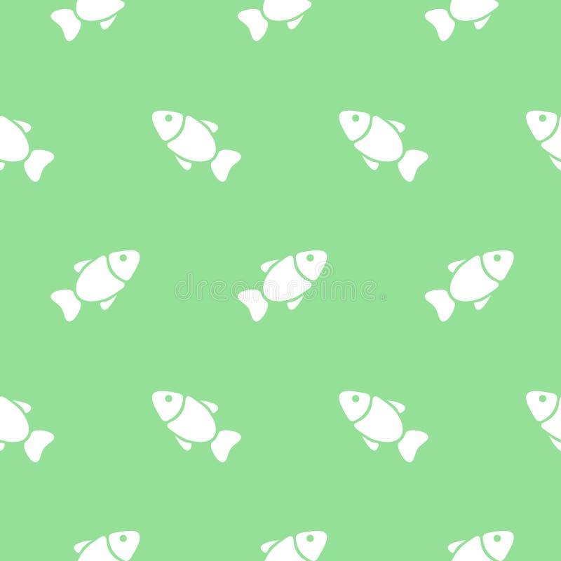 Modelo inconsútil con los pescados en verde Ilustración del vector stock de ilustración